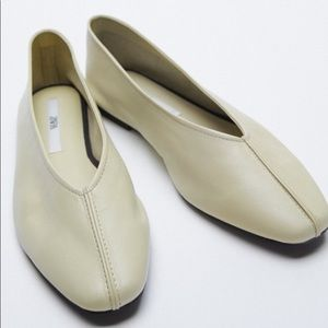 Zara New White Leather Ballet Flats Shoes, nwt